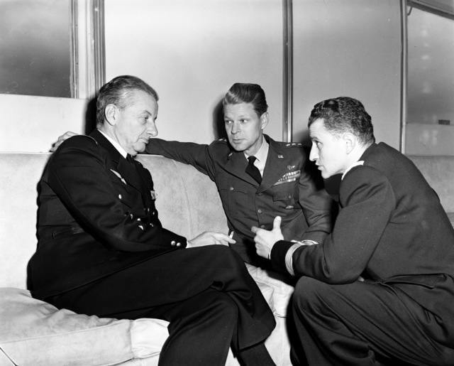 [Gen. Charles Lecheres, Chief of Staff, French Air Force, Gen. Lauris Norstad, CinC, Allied Air Forces Central Europe, AND Cdt. Daniel Cottard, Interpreter]