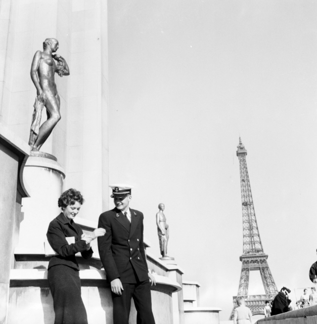 [Midshipman and French Girl Strolling in Paris]
