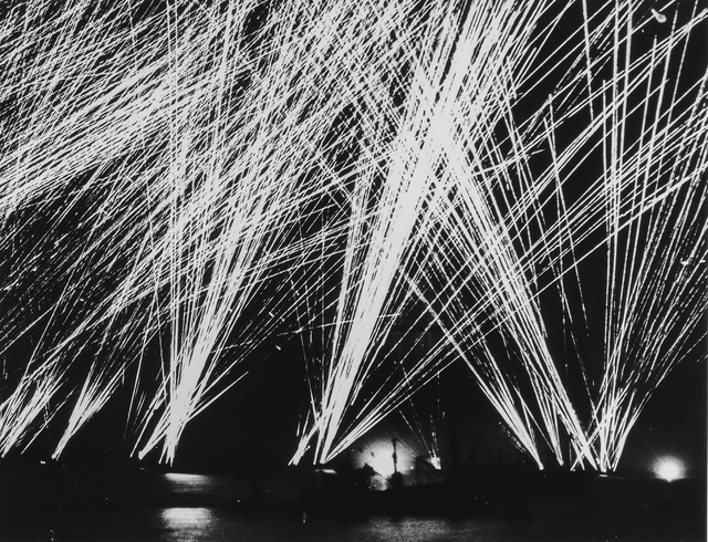 Photograph of Allied Guns Firing at Nazi Planes Off the Cherbourg Peninsula