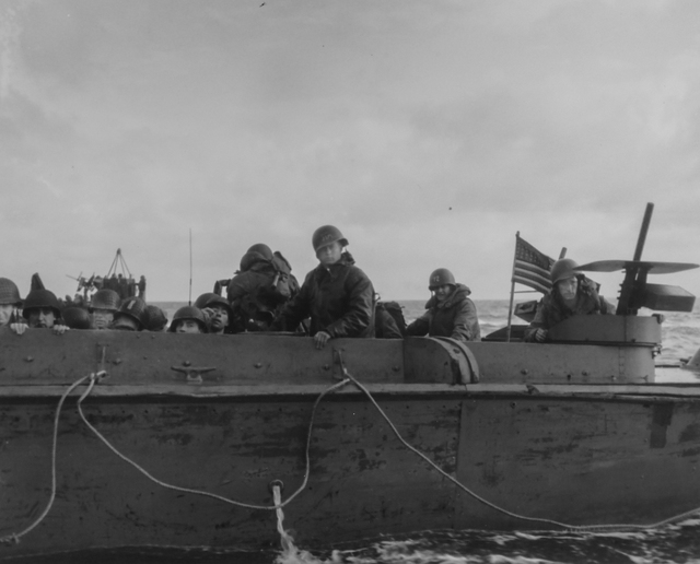 Photograph of American Soldiers Heading towards the French Coast on a U.S. Coast Guard Landing Barge