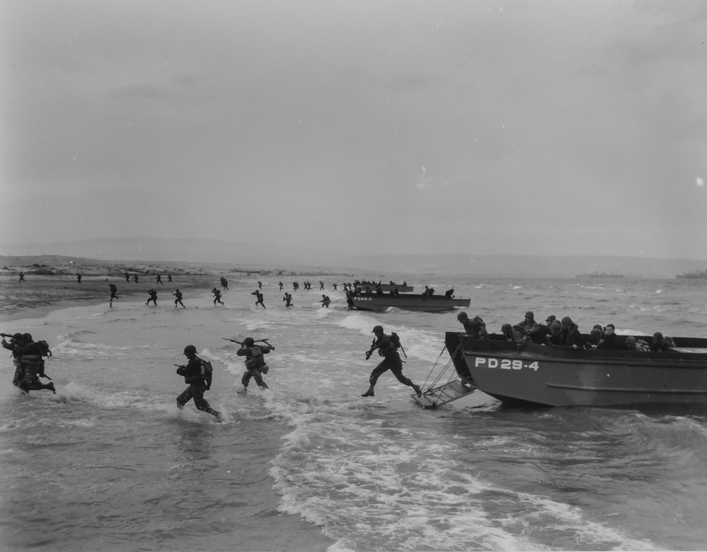 Photograph of American Troops during Final Amphibious Maneuvers on the North African coast