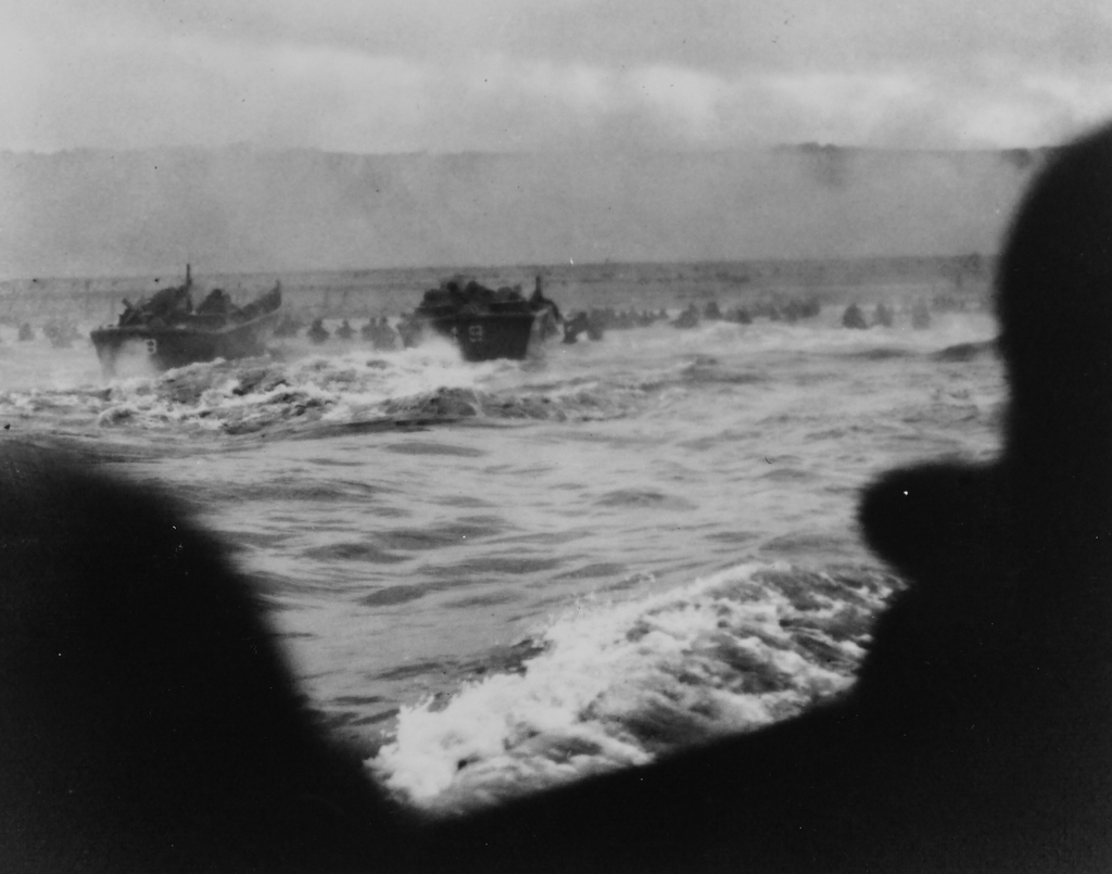 Photograph of Coast Guard Landing Barges Hitting the French Coast with the First Wave of American Troops