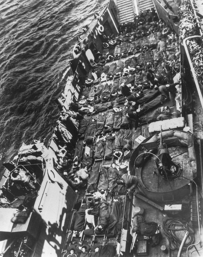 Photograph of Stretchers Covering the Decks of a Coast Guard LCT