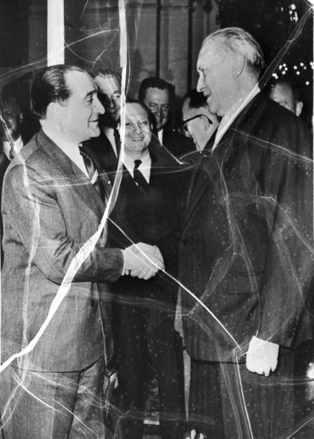 [Pierre Mendes France and Adenauer Shake Hands]