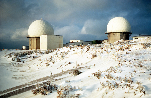 An Air Defense Command radar site sit amid the snow covered landscape in Nova Scotia. Exact Date Shot Unknown