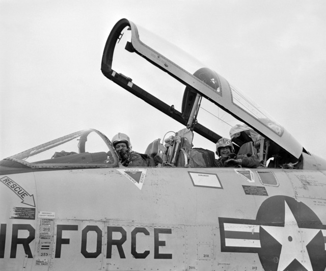 U.S. Air Force MAJ. GEN. Alexander P. MacDonald, sits in the front seat of a North Dakota Air National Guard F-102 Delta Dagger aircraft on the flight line at Hector International Field, North Dakota. The identity of the person in the back seat is unknown. (A3604) (U.S. Air Force PHOTO) (Released)