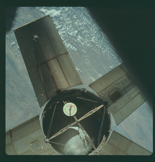 AS07-03-1534 - Apollo 7 - Apollo 7 Mission, Saturn IVB booster during docking maneuvers