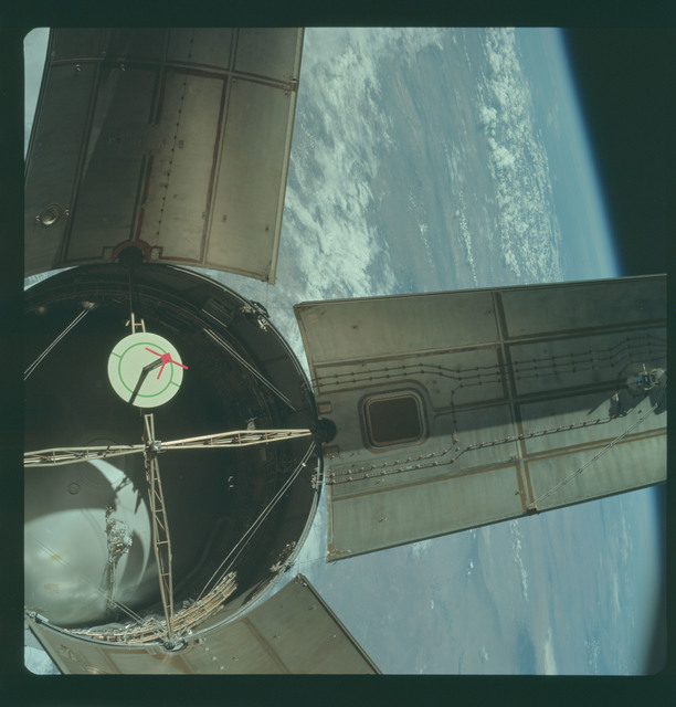 AS07-03-1536 - Apollo 7 - Apollo 7 Mission, Saturn IVB booster during docking maneuvers