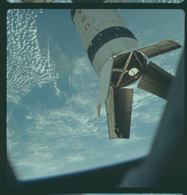 AS07-03-1543 - Apollo 7 - Apollo 7 Mission, Saturn IVB booster during docking maneuvers
