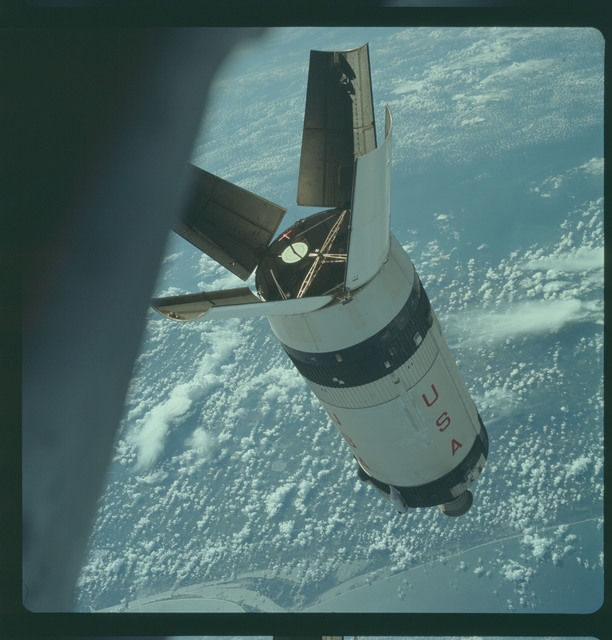 AS07-03-1544 - Apollo 7 - Apollo 7 Mission, Saturn IVB during docking maneuvers