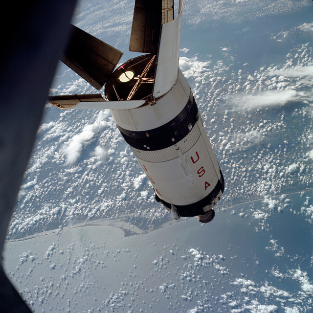 AS07-03-1545 - Apollo 7 - Apollo 7 Mission, Saturn IVB during docking maneuvers