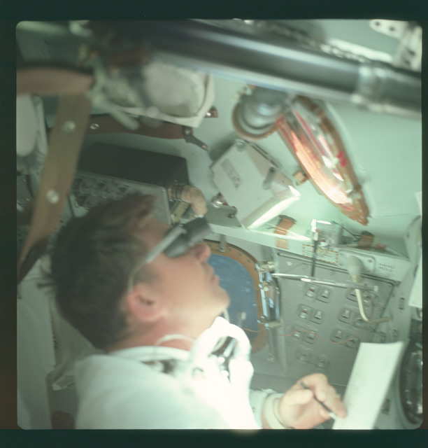 AS07-04-1558 - Apollo 7 - Apollo 7 Mission, Apollo Commander Walter Shirra inside Command Module