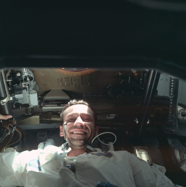 AS07-04-1600 - Apollo 7 - Apollo 7 Mission, Command Module Pilot Donn F. Eisele smiles at camera