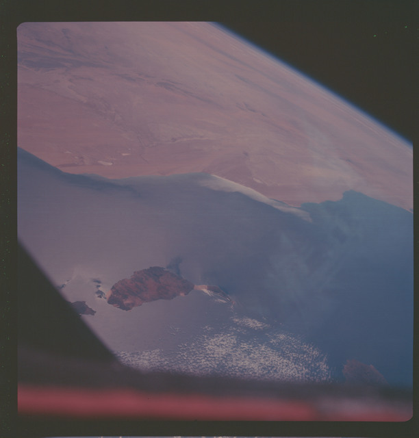 AS07-06-1716 - Apollo 7 - Apollo 7 Mission, Canary Islands, Fuerteventura Island, coast of Spanish Sahara in background