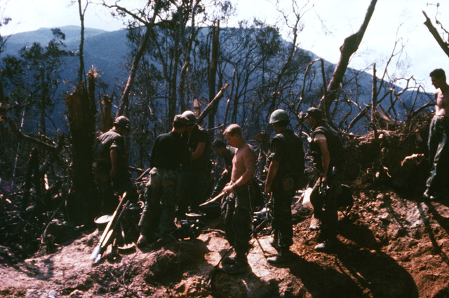 Marines of the 3rd Marine Division begin to clear trees and underbrush from a mountain-top during the construction of a fire support base
