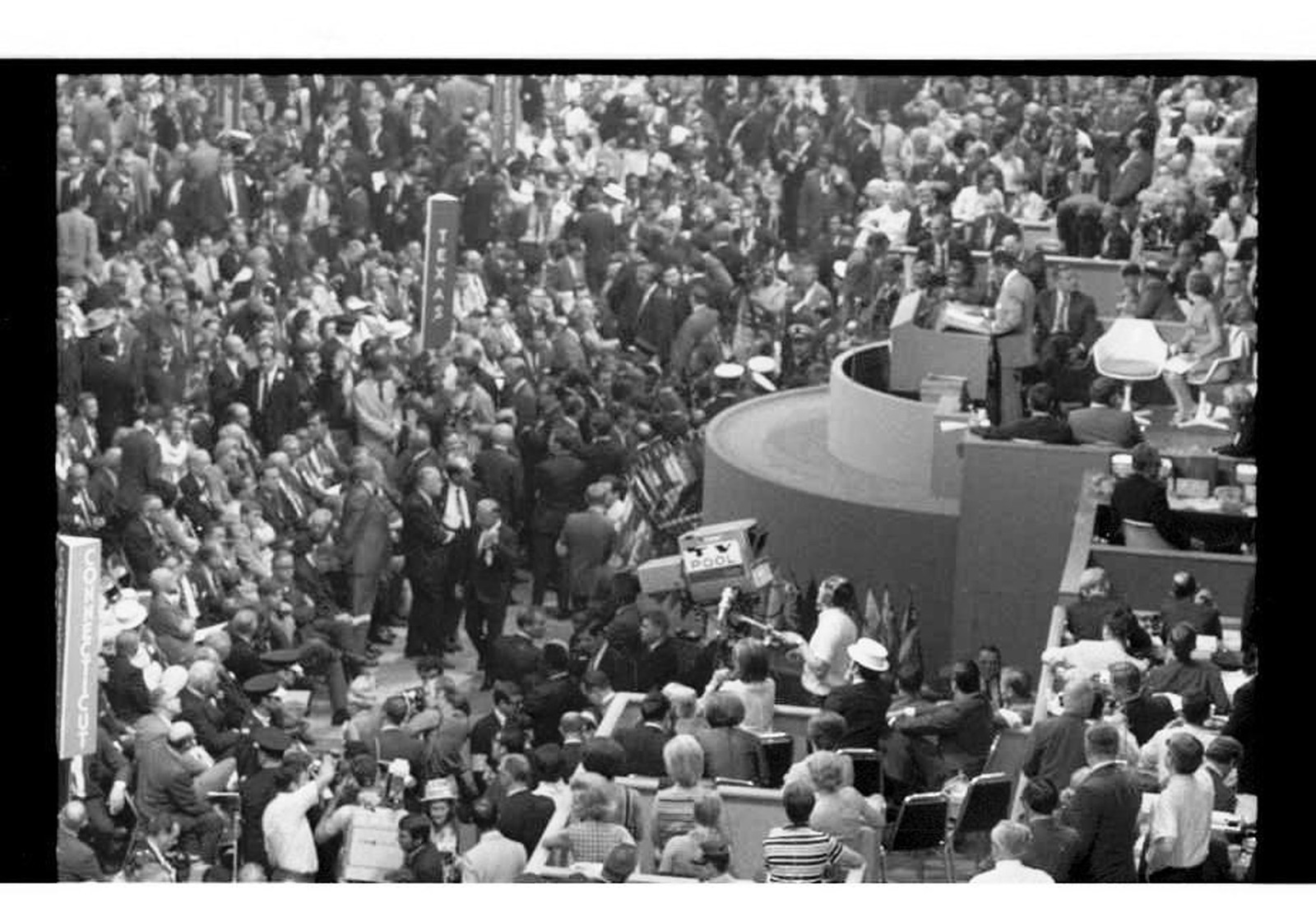 Delegates And The Stage At 1968 Democratic National Convention
