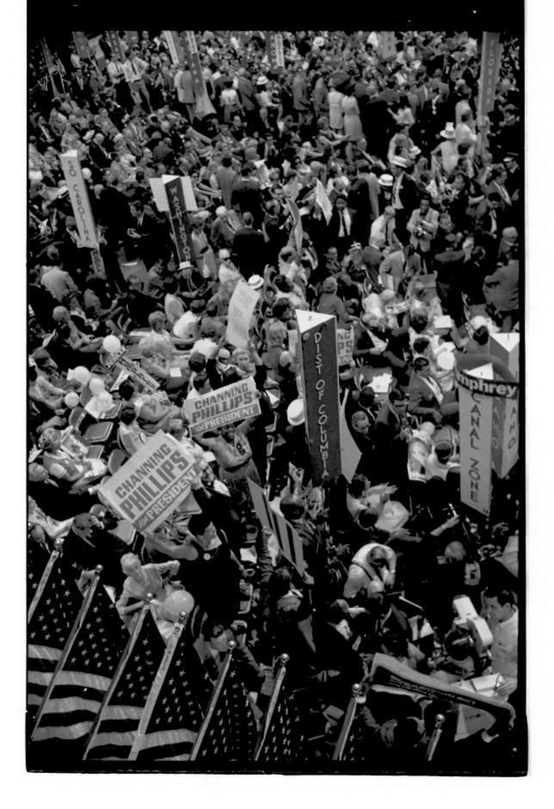 Delegates With Signs At The 1968 Democratic National Convention