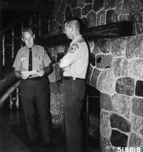 Photograph of Staff Officers Discussing Plans in Supervisor's Office