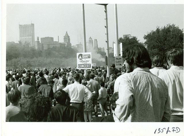 Protestors in Grant Park in Chicago
