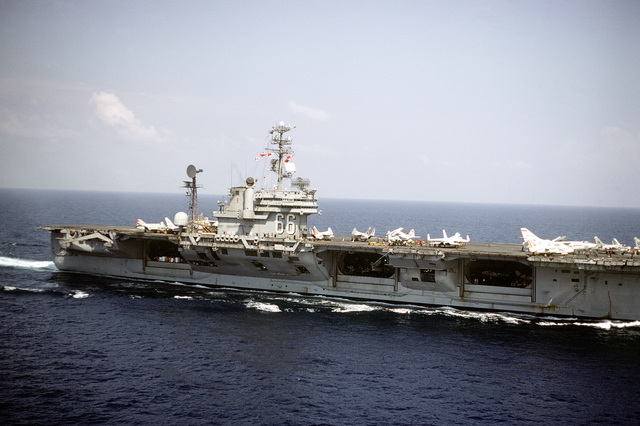 A starboard view of the attack aircraft carrier USS AMERICA (CV-66) underway