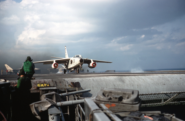An EKA-3B Skywarrior aircraft is launched from the attack aircraft carrier USS AMERICA (CV 66)