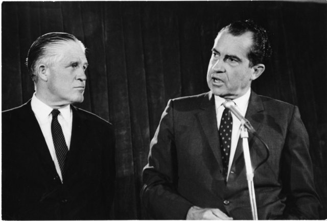 Richard Nixon stands with George Romney in Detroit