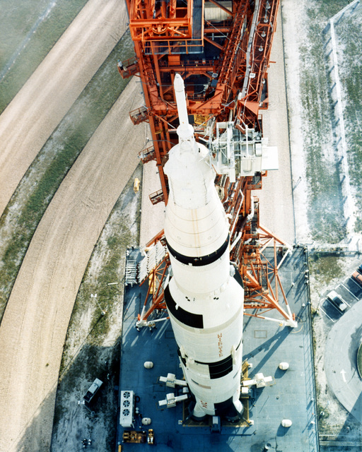 A view of the 363-foot high Saturn V launch vehicle that will carry Apollo 8 astronauts Frank Borman, James Lovell and William Anders into space. The launch vehicle is being moved from the Vehicle Assembly Building to Launch Pad A, Complex 39. Apollo 8, scheduled for launch in December, will be the first manned Saturn V flight