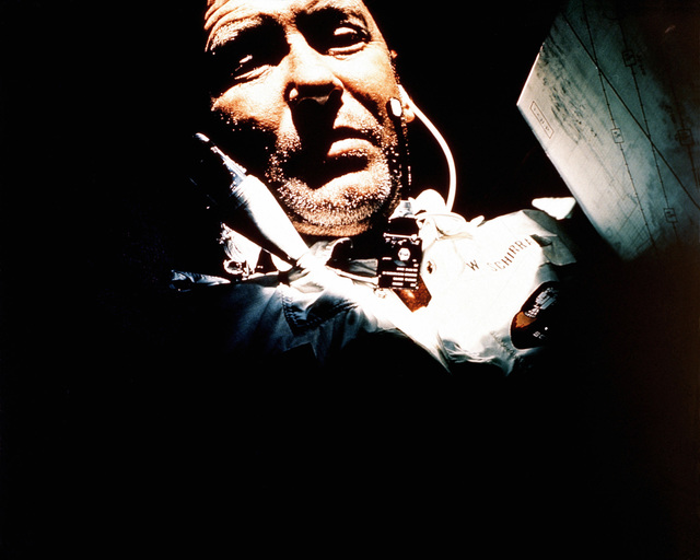 Astronaut Walter M. Schirra Jr., spacecraft commander, during the Apollo 7 mission