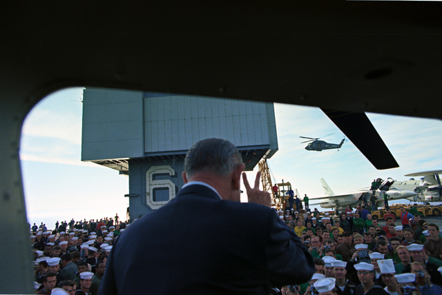 President Lyndon B. Johnson Greeting Assembled Troops on the Deck of the USS Enterprise