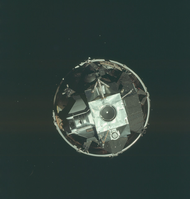 AS09-19-2909 - Apollo 9 - Apollo 9 Mission image - Top view of the Lunar Module (LM) spacecraft from the Command Module (CM)