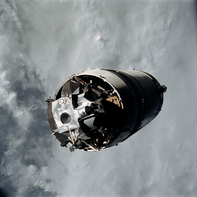 AS09-19-2919 - Apollo 9 - Apollo 9 Mission image - Top view of the Lunar Module (LM) spacecraft from the Command Module (CM)