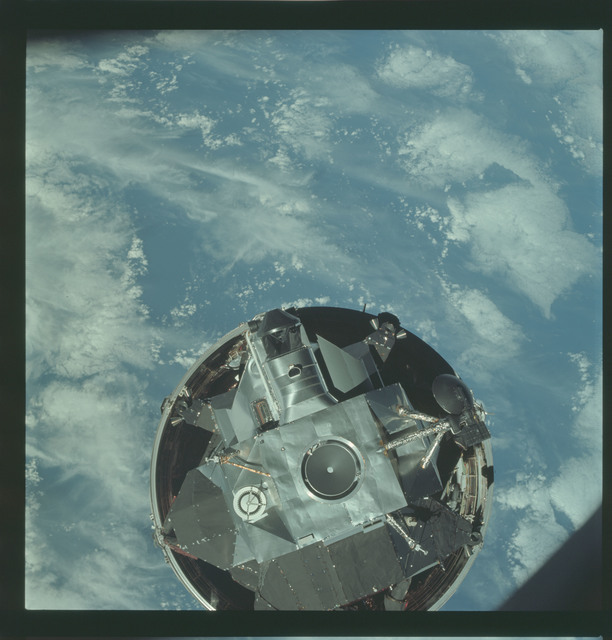"AS09-19-2929 - Apollo 9 - Apollo 9 Mission image - The Lunar Module (LM) 3 ""Spider"" is photographed ascending from booster"