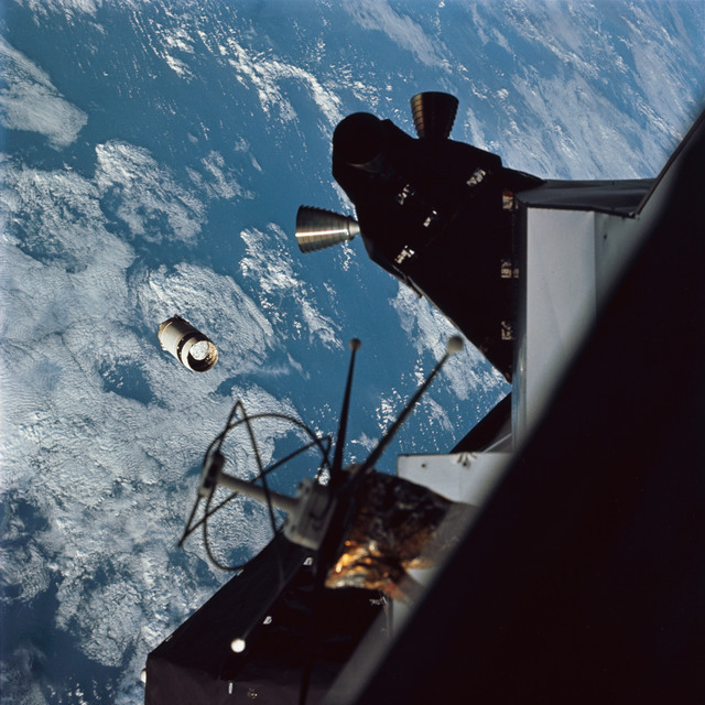 AS09-19-2941 - Apollo 9 - Apollo 9 Mission image - View of the  Lunar Module (LM) 3 and Service Module (SM) LM Adapter