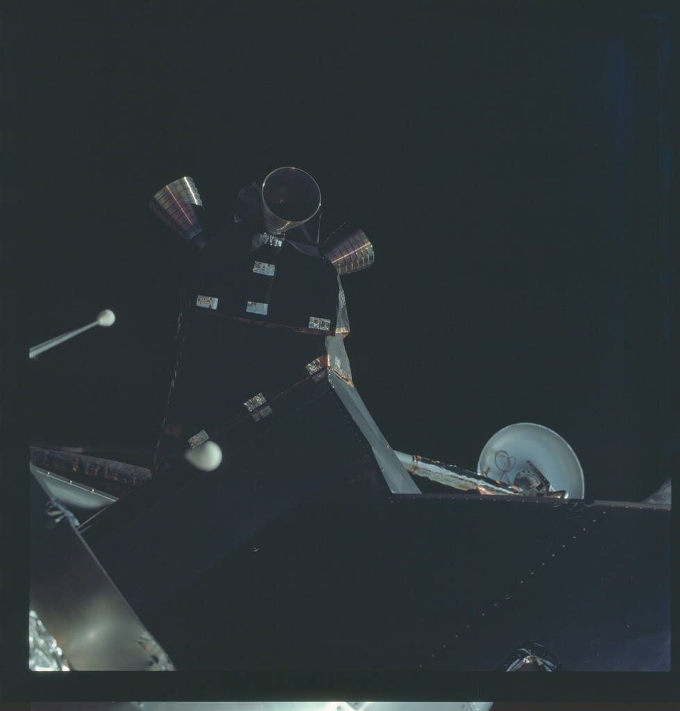 AS09-19-2979 - Apollo 9 - Apollo 9 Mission image - Dark view of the Lunar Module (LM) spacecraft