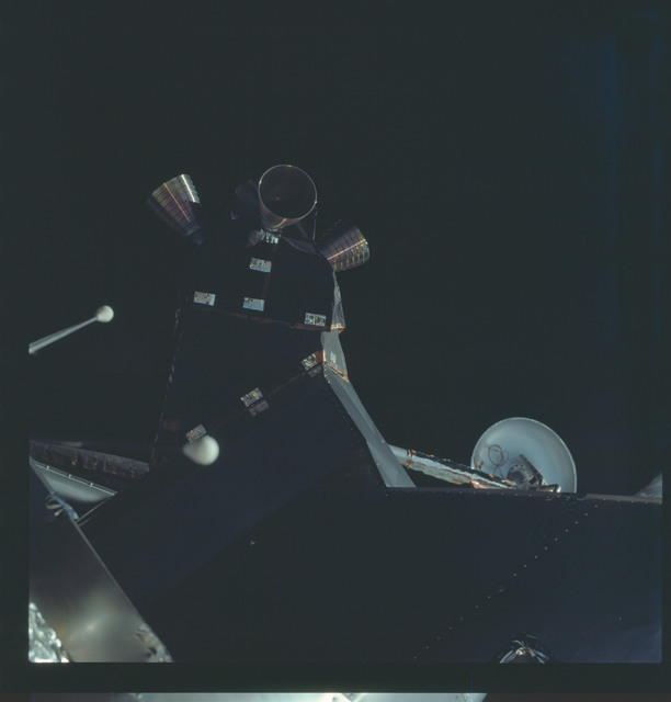AS09-19-2979 - Apollo 9 - Apollo 9 Mission image - Dark view of the Lunar Module (LM) spacecraft