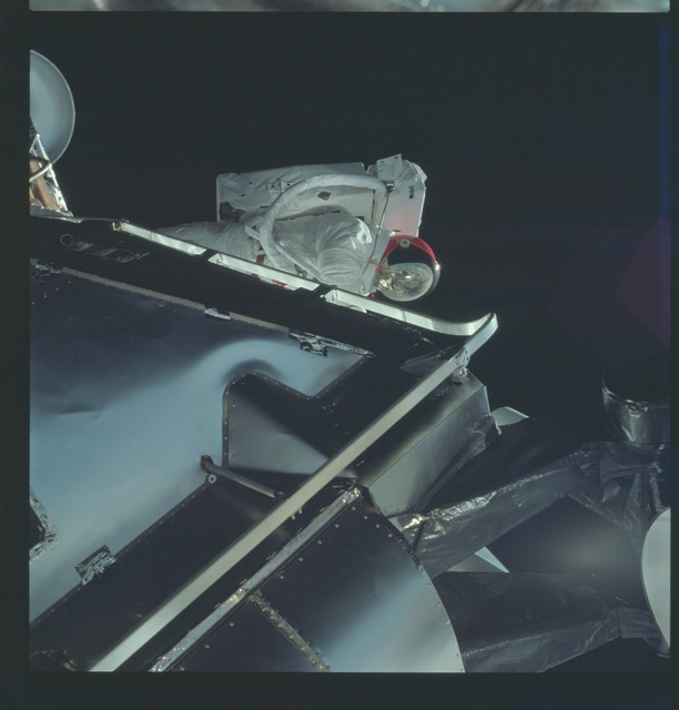 AS09-19-2981 - Apollo 9 - Apollo 9 Mission image - Astronaut Russell L. Schweickart, lunar module pilot, during EVA