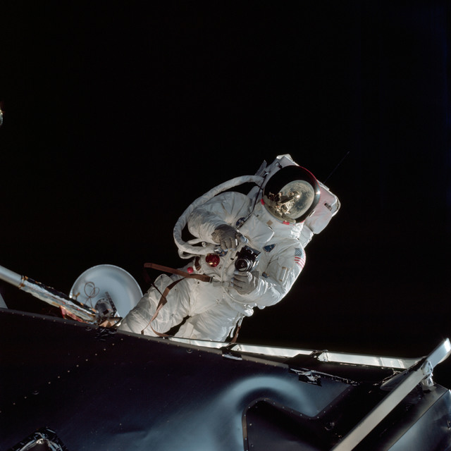 AS09-19-2982 - Apollo 9 - Apollo 9 Mission image - Astronaut Russell L. Schweickart, lunar module pilot, during EVA