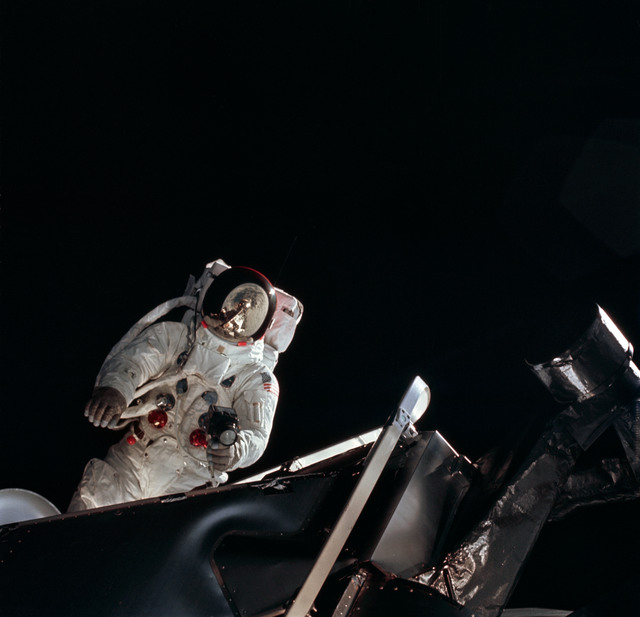 AS09-19-2983 - Apollo 9 - Apollo 9 Mission image - Astronaut Russell L. Schweickart, lunar module pilot, during EVA