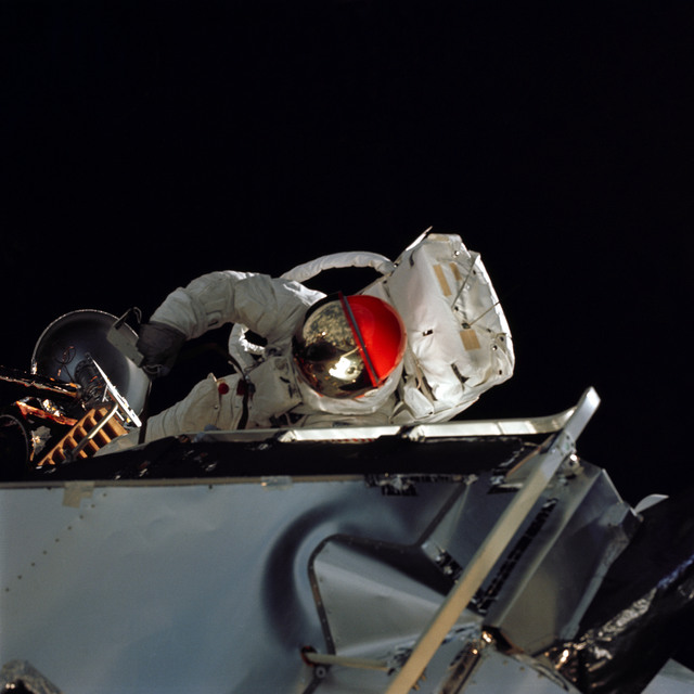 AS09-19-2994 - Apollo 9 - Apollo 9 Mission image - Astronaut Russell L. Schweickart, lunar module pilot, during EVA