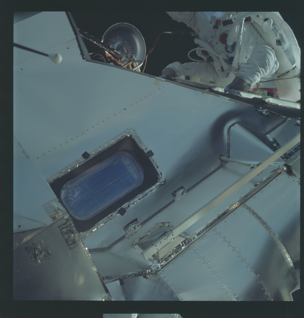 AS09-19-2997 - Apollo 9 - Apollo 9 Mission image - Astronaut Russell L. Schweickart, lunar module pilot, during EVA