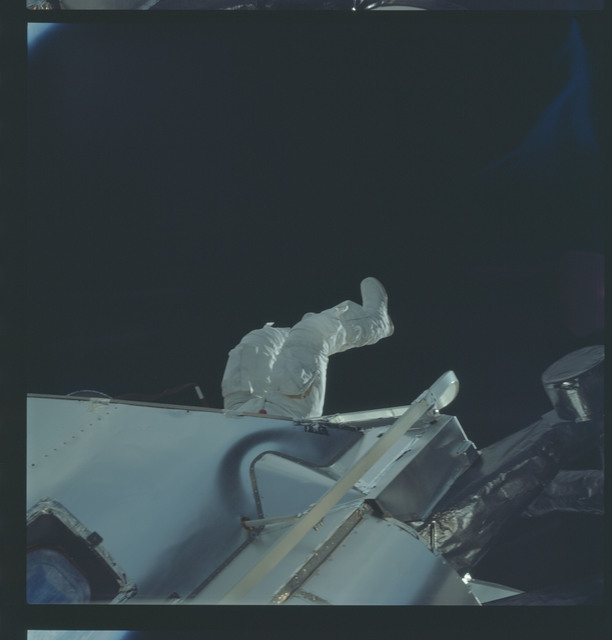 AS09-19-3000 - Apollo 9 - Apollo 9 Mission image - Astronaut Russell L. Schweickart, lunar module pilot, during EVA