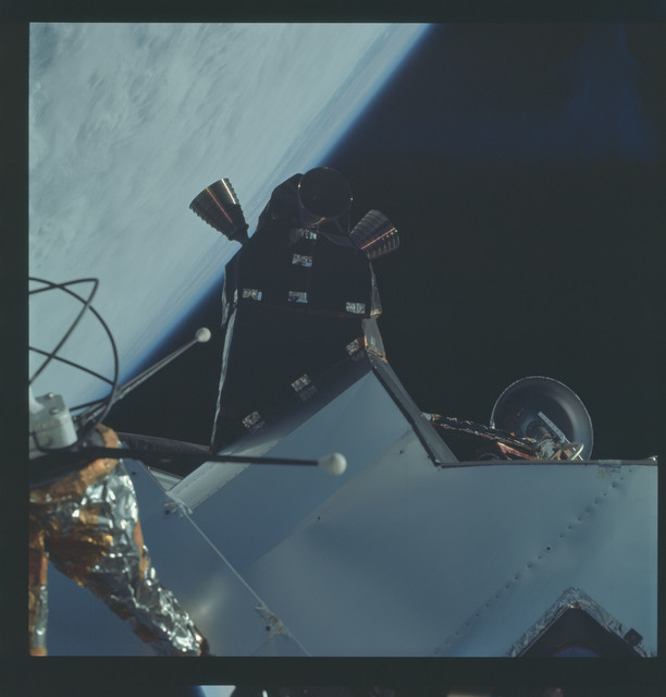 AS09-19-3002 - Apollo 9 - Apollo 9 Mission image - Lunar Module (LM) spacecraft from the Command Module (CM)