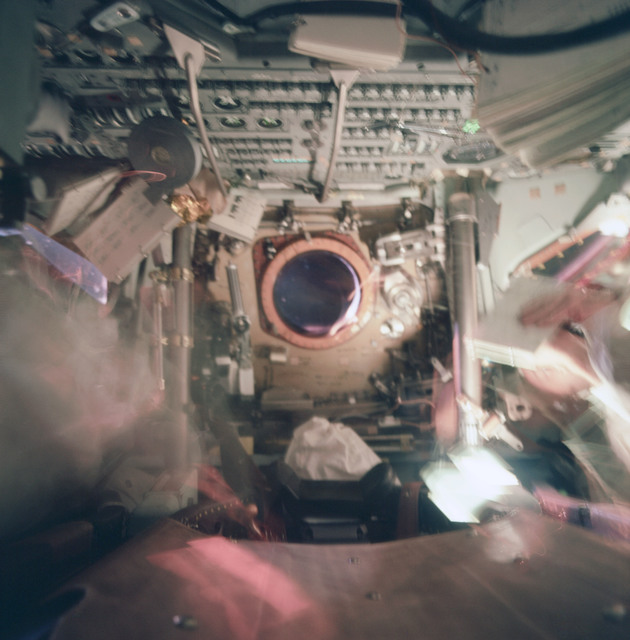 AS09-20-3103 - Apollo 9 - Apollo 9 Mission image - Blurred dark view of interior of Command module