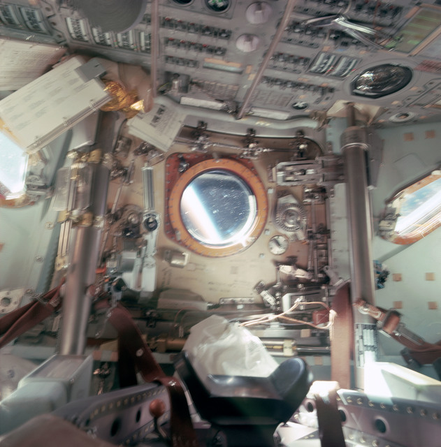 AS09-20-3104 - Apollo 9 - Apollo 9 Mission image - Slightly blurred view of interior of Command module