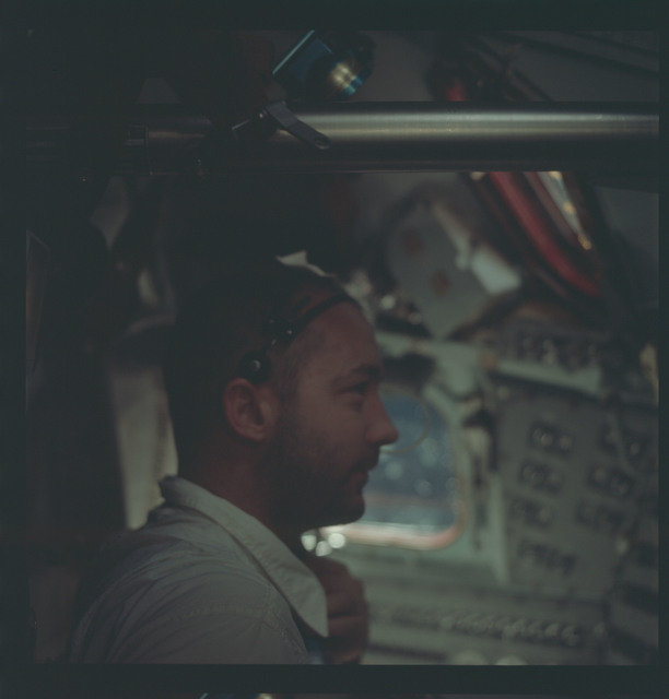 AS09-22-3422 - Apollo 9 - Apollo 9 Mission image - McDivitt in Command Service module