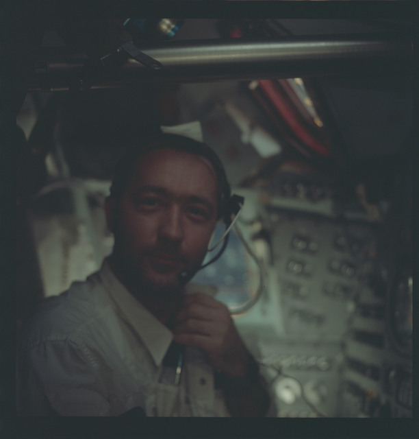 AS09-22-3423 - Apollo 9 - Apollo 9 Mission image - McDivitt in Command Service module