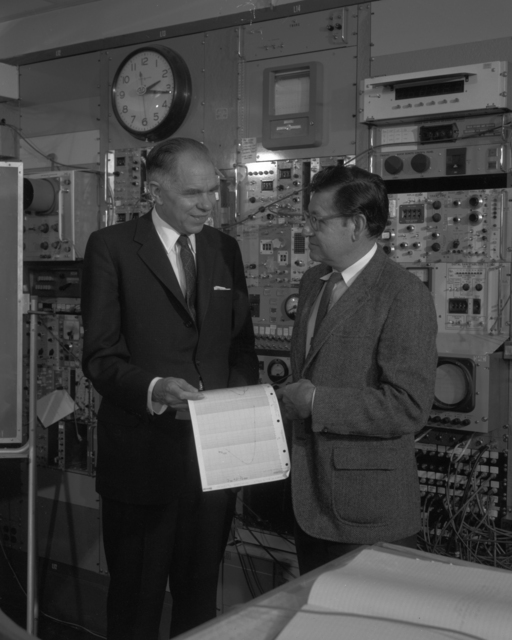 Glenn T. Seaborg and Al Ghiorso at Hilac, taken March 7, 1969.  Principal Investigator/Project: Analog Conversion Project