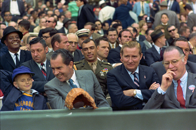 President Richard Nixon Enjoys Opening Day Baseball at Robert F. Kennedy Stadium in the Company of a Young Fan