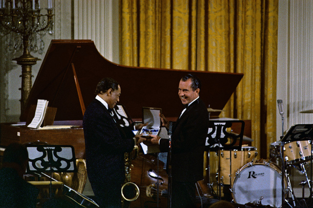 Richard Nixon Presents Duke Ellington with the Presidential Medal of Freedom