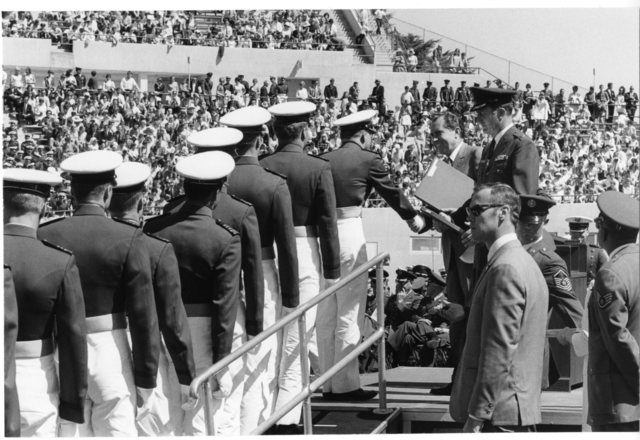 President Richard Nixon Awards Commencement Ceremony Diplomas at Air Force Academy in Colorado Springs